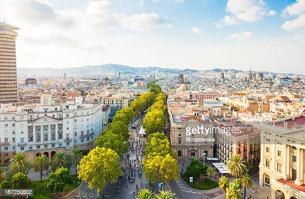 barcelona cityscape with la rambla - barcelona spain stock pictures, royalty-free photos & images