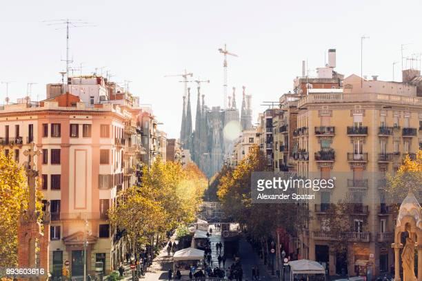 Barcelona cityscape with Sagrada Familia in the center, Catalonia, Spain