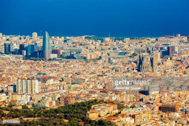 Barcelona cityscape with Torre Agbar and Sagrada Familia
