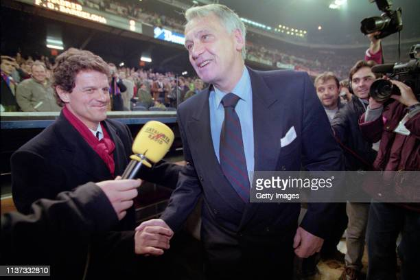 Barcelona coach Bobby Robson shakes hands with Real Madrid coach Fabio Capello before a Spanish Cup match at the Nou Camp on January 30, 1997 in...
