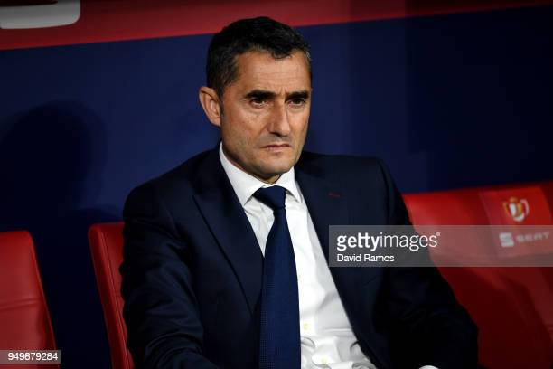 Barcelona coach Ernesto Valverde during the Spanish Copa del Rey Final between Barcelona and Sevilla at Wanda Metropolitano on April 21 2018 in...