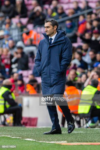 FC Barcelona coach Ernesto Valverde reacts during the match between FC Barcelona vs Celta de Vigo for the round 14 of the Liga Santander played at...