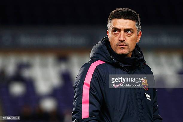 Barcelona Coach Francisco Javier Garcia Pimienta looks on prior to the UEFA Youth League Round of 16 match between RSC Anderlecht and FC Barcelona...