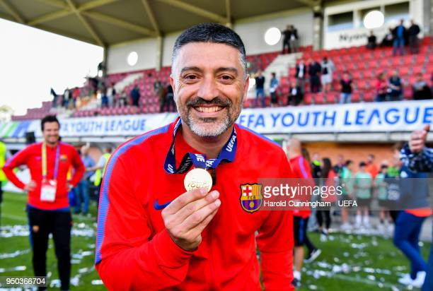 Barcelona coach Francisco Pimienta celebrates following the UEFA Youth League Final between Chelsea FC and FC Barcelona at Colovray Sports Centre on...