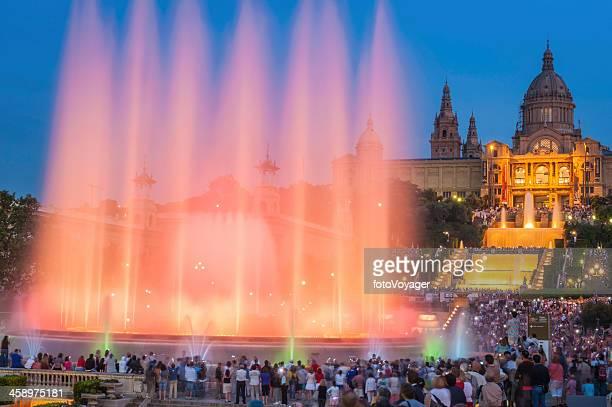 Barcelona crowds watching MNAC fountain light show