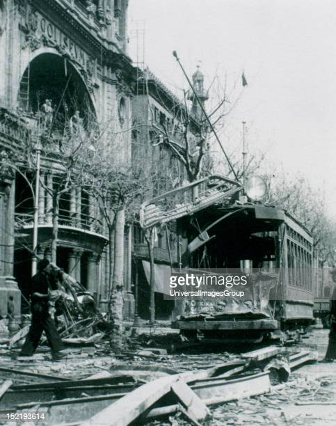 Barcelona Damage caused by the bombing of 17 and 18 February 1938 in the Gran Via near the Coliseum building Catalonia Archives of the Abbey of...