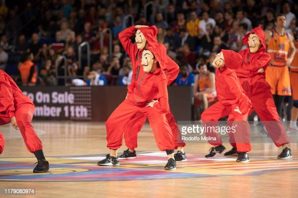 Barcelona dancers perform during the 2019/2020 Turkish Airlines EuroLeague Regular Season Round 5 match between FC Barcelona and Valencia Basket at...