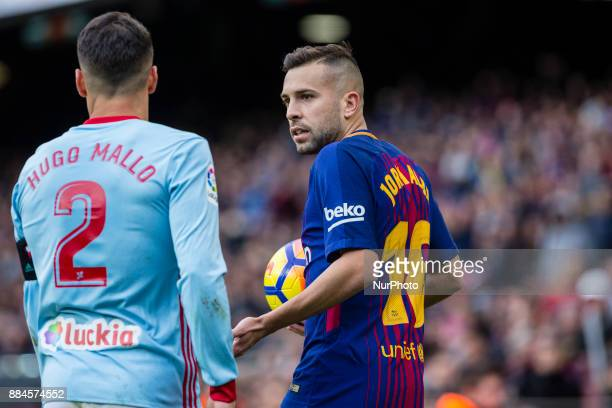FC Barcelona defender Jordi Alba and Celta de Vigo defender Hugo Mallo during the match between FC Barcelona vs Celta de Vigo for the round 14 of the...