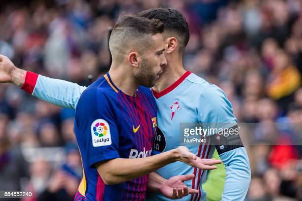 FC Barcelona defender Jordi Alba faced to Celta de Vigo defender Hugo Mallo during the match between FC Barcelona vs Celta de Vigo for the round 14...