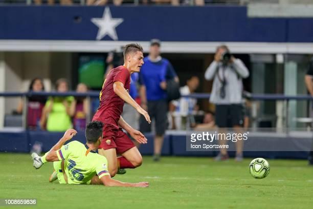 Barcelona defender Juan Brandariz 'Chumi' fouls AS Roma forward Patrik Schick in the box during the International Champions Cup between FC Barcelona...