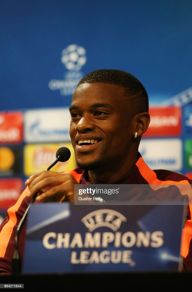 FC Barcelona defender Nelson Semedo during the UEFA Champions League FC Barcelona Training and Press Conference at Estadio Jose Alvalade on September 26, 2017 in Lisbon, Portugal.