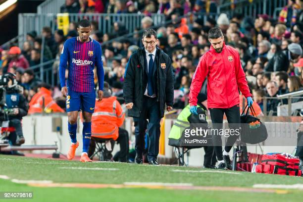 FC Barcelona defender Nelson Semedo injured during the match between FC Barcelona vs Girona for the round 25 of the Liga Santander played at Camp Nou...