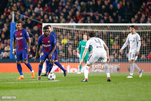 FC Barcelona defender Samuel Umtiti and Chelsea FC midfielder Cesc Fabregas during UEFA Champions League match between FC Barcelona and Chelsea FC at...