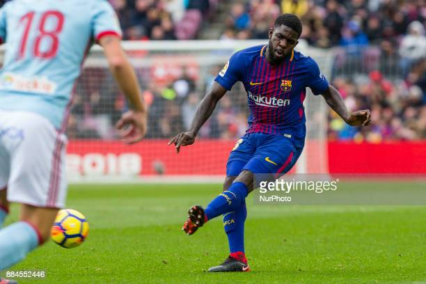 FC Barcelona defender Samuel Umtiti during the match between FC Barcelona vs Celta de Vigo for the round 14 of the Liga Santander played at Camp Nou...
