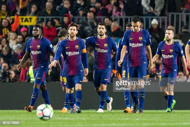 FC Barcelona defender Samuel Umtiti FC Barcelona forward Lionel Messi FC Barcelona forward Luis Suarez FC Barcelona midfielder Sergio Busquets and FC...