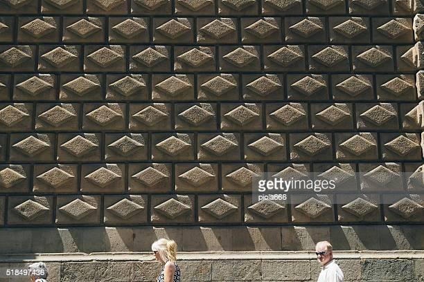 Barcelona diamond shaped wall pattern along ramblas