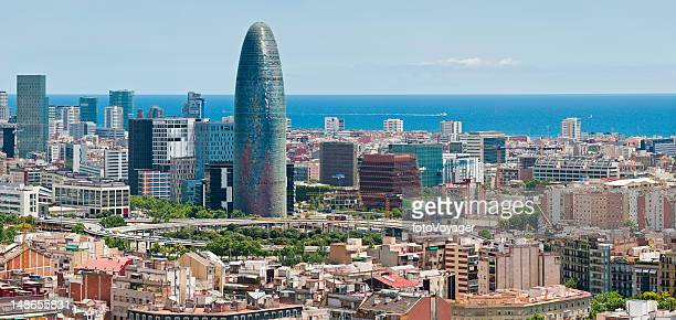 Barcelona downtown ocean skyscrapers Torre Agbar Poblenou panorama Catalonia Spain