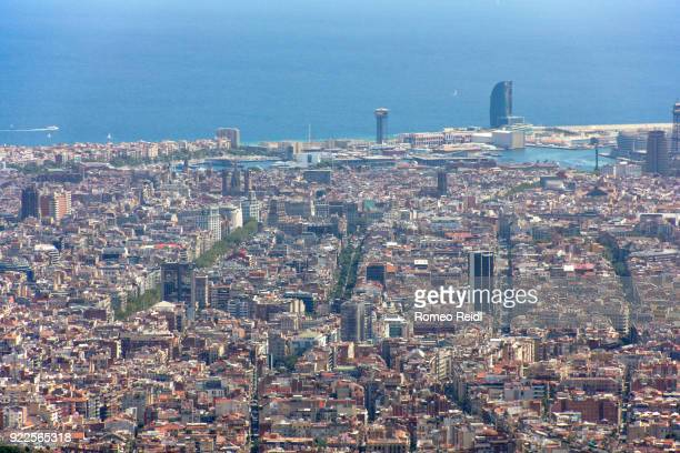 barcelona dowtown with the main avenues and the barcelona port 2 - tibidabo stock pictures, royalty-free photos & images