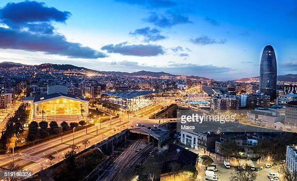 barcelona dusk landscape - catalonia stock pictures, royalty-free photos & images