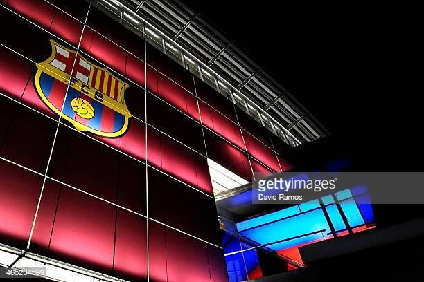 Barcelona emblem sits on display outsite the Camp Nou Stadium prior to the La Liga match between FC Barcelona and Malaga CF at Camp Nou on January 26...