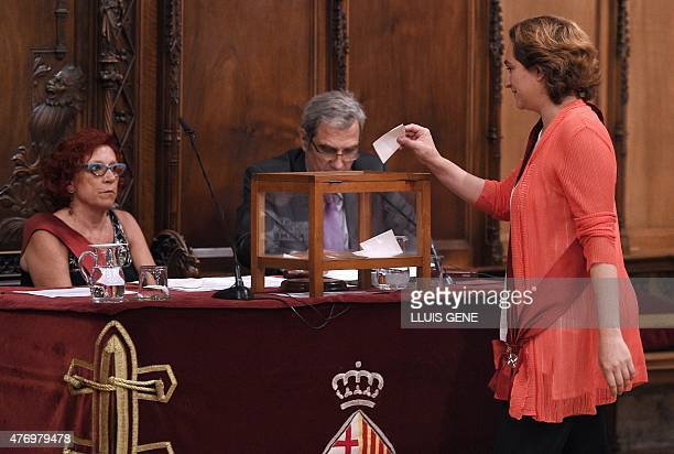 Barcelona en Comu candidate, Ada Colau casts her ballot during the investiture session at the Barcelona City-Hall prior to being sworn in as mayor of...