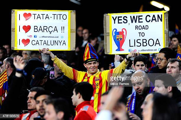 Barcelona fan cheers on his team during the UEFA Champions League Round of 16, second leg match between FC Barcelona and Manchester City at Camp Nou...