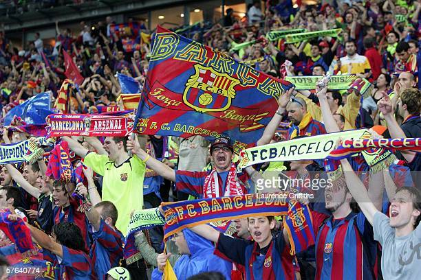 Barcelona fans celebrate after their teams victory in the UEFA Champions League Final between Arsenal and Barcelona at the Stade de France on May 17...