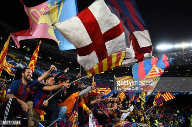 Barcelona fans celebrate during the UEFA Champions League Round of 16 second leg match between FC Barcelona and Paris SaintGermain at Camp Nou on...