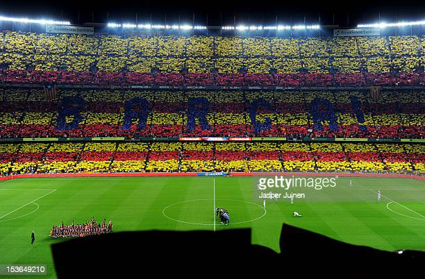Barcelona fans display a Catalan flag prior to the start of the la Liga match between FC Barcelona and Real Madrid at the Camp Nou stadium on October...