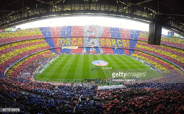 Barcelona fans display a choreography prior to the La Liga football match between FC Barcelona and Real Madrid CF at Camp Nou Stadium in Barcelona...