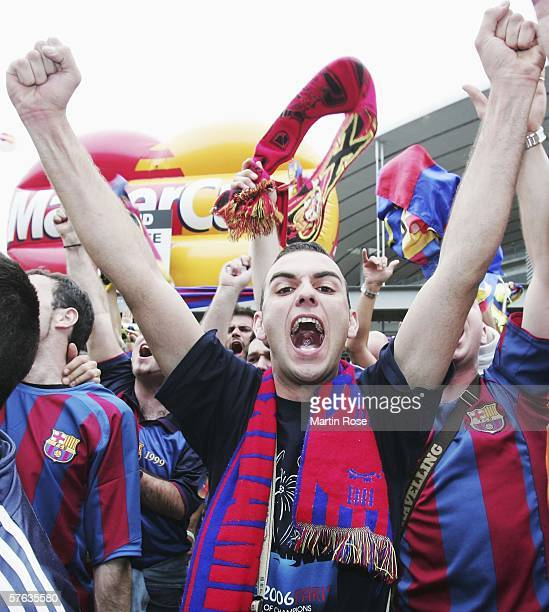 Barcelona fans gather outside the stadium prior the UEFA Champions League Cup Final between Arsenal and Barcelona at the Stade de France on May 17...