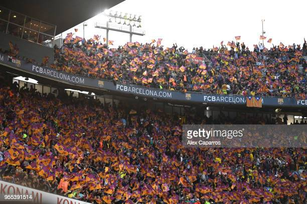 Barcelona fans hsow their support prior to the La Liga match between Barcelona and Real Madrid at Camp Nou on May 6 2018 in Barcelona Spain