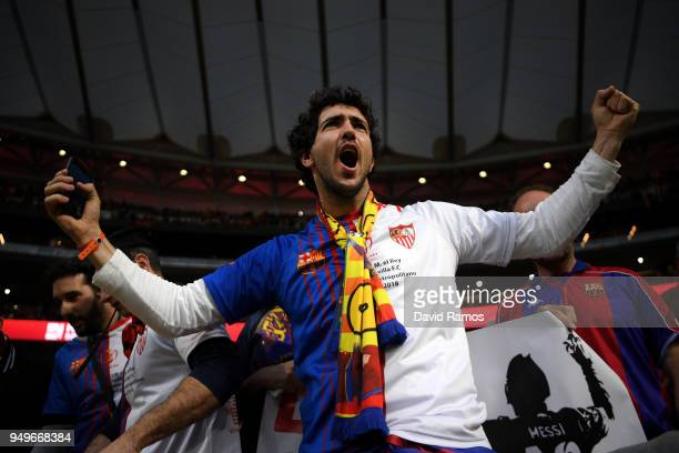 Barcelona fans make noise ahead of the Spanish Copa del Rey Final between Barcelona and Sevilla at Wanda Metropolitano on April 21 2018 in Madrid...