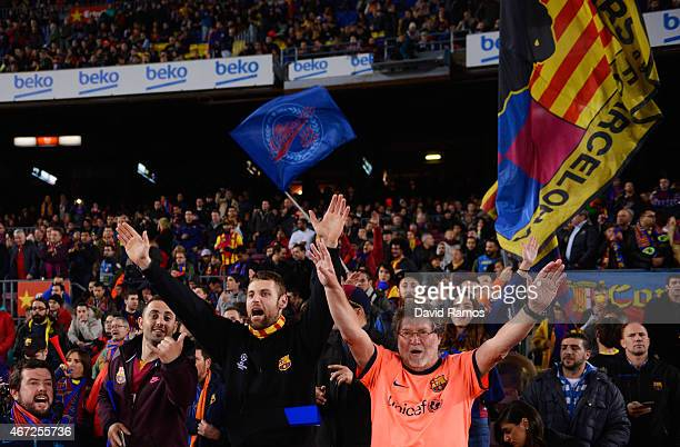 Barcelona fans show their support prior to the La Liga match between FC Barcelona and Real Madrid CF at Camp Nou on March 22 2015 in Barcelona Spain
