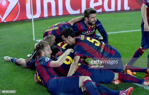 Barcelona - FC Bayern Muenchen Torjubel FC Barcelona (Ivan Rakitic, Luis Suarez, Neymar, Javier Mascherano, Gerard Pique und Sergio Busquets
