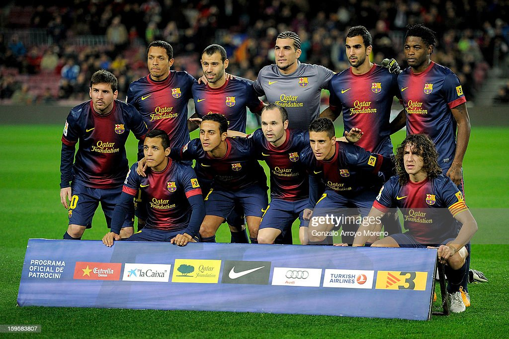Barcelona FC lineup prior to start the Copa del Rey Quarter Final match between Barcelona FC and Malaga CF at Camp Nou on January 16, 2013 in Barcelona, Spain.