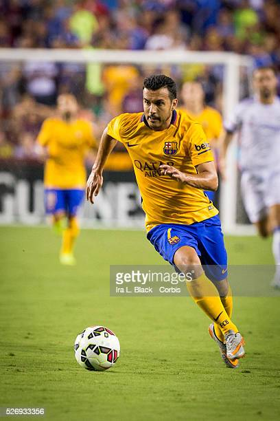 Barcelona FC player Pedro looks for the opening and the goal during the Soccer 2015 Guinness International Champions Cup Match between Chelsea FC vs...