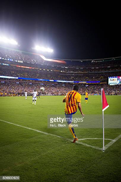 Barcelona FC player Pedro Rodriguez takes the penalty kick during the Soccer 2015 Guinness International Champions Cup Match between Chelsea FC vs...