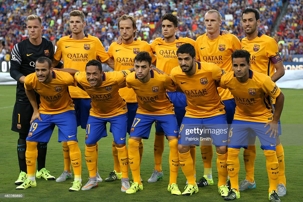 Barcelona FC poses for a team photo before playing Chelsea in the International Champions Cup North America at FedExField on July 28, 2015 in Landover, Maryland. Chelsea won in a penalty shootout.