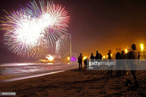 Barcelona - fireworks on the beach of La Barceloneta at new years eve (Catalonia/ Spain)