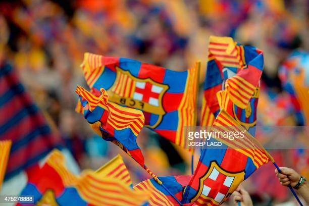 FC Barcelona flags are seen prior to the Spanish Copa del Rey final football match Athletic Club Bilbao vs FC Barcelona at the Camp Nou stadium in...