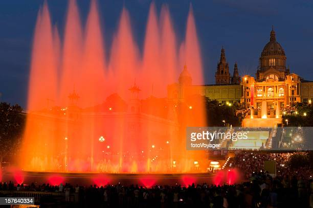 barcelona font magica magic fountain mnac plaza espana catalonia spain - fira de barcelona stock pictures, royalty-free photos & images