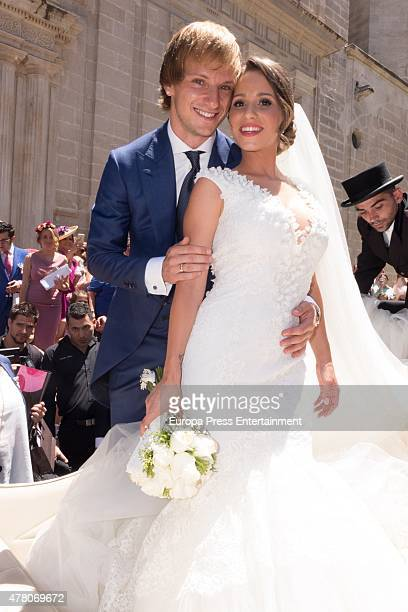 Barcelona fooball player Ivan Rakitic and Raquel Mauri get married at Sevilla cathedral on June 20 2015 in Seville Spain
