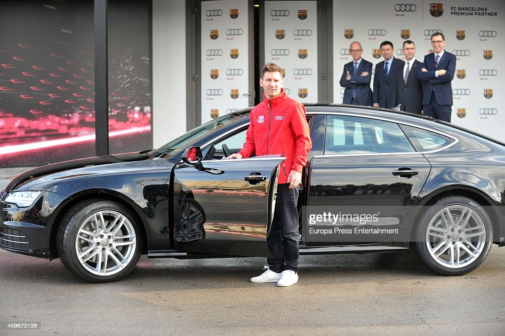 Barcelona Football Club Player Leo Messi Receives The Keys Of The New Audi  Cars During The