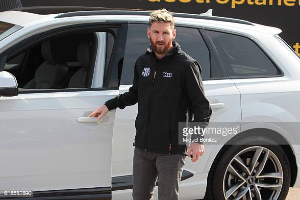 Barcelona Football Club player Lionel 'Leo' Messi attends the presentation of Barcelona Football Club's players receive new cars made by Audi at the...