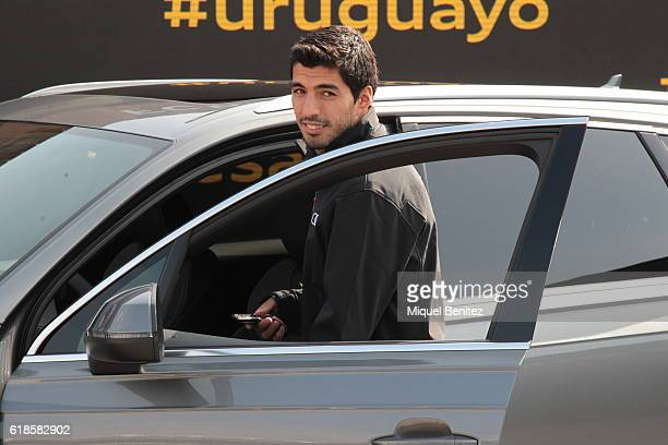 Barcelona Football Club player Luis Suarez attends the presentation of Barcelona Football Club's players receive new cars made by Audi at the Camp...