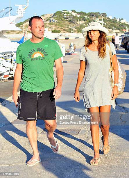 Barcelona Football Club's president Sandro Rosell and his wife Marta Pineda are seen on June 29 2013 in Ibiza Spain