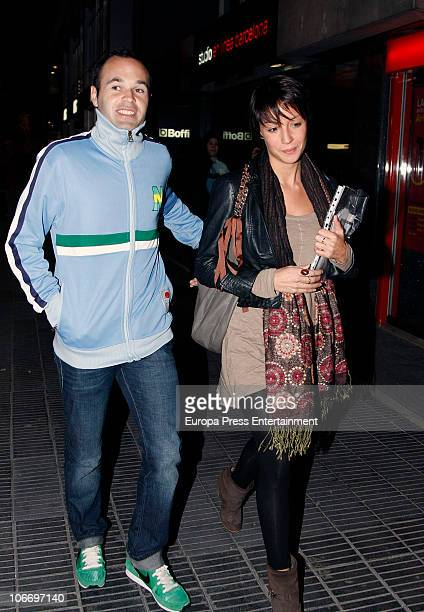 Barcelona football player Andres Iniesta and his girlfriend Anna Ortiz threemonths pregnant are seen visiting the gynecologist on November 11 2010 in...
