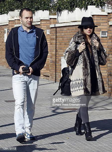 Barcelona football player Andres Iniesta and his pregnant wife Ana Ortiz are sighted on January 28 2011 in Barcelona Spain