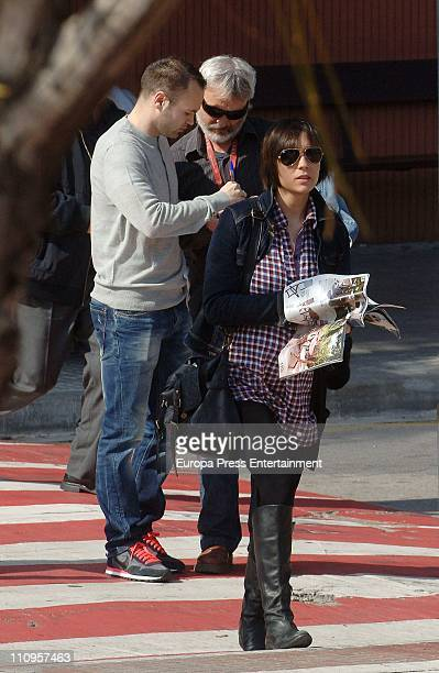Barcelona football player Andres Iniesta and his pregnant wife Ana Ortiz are sighted on March 24 2011 in Barcelona Spain